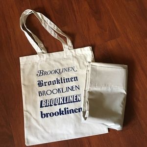 Never used Brooklinen top sheet and tote bag